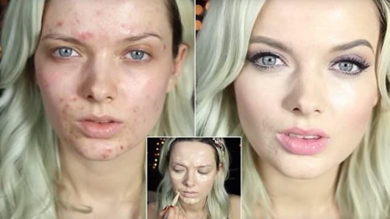 Ekspertja e grimit tregon procedurën e mundimshme, për të mbuluar lëkurën e vrazhdë (Video)