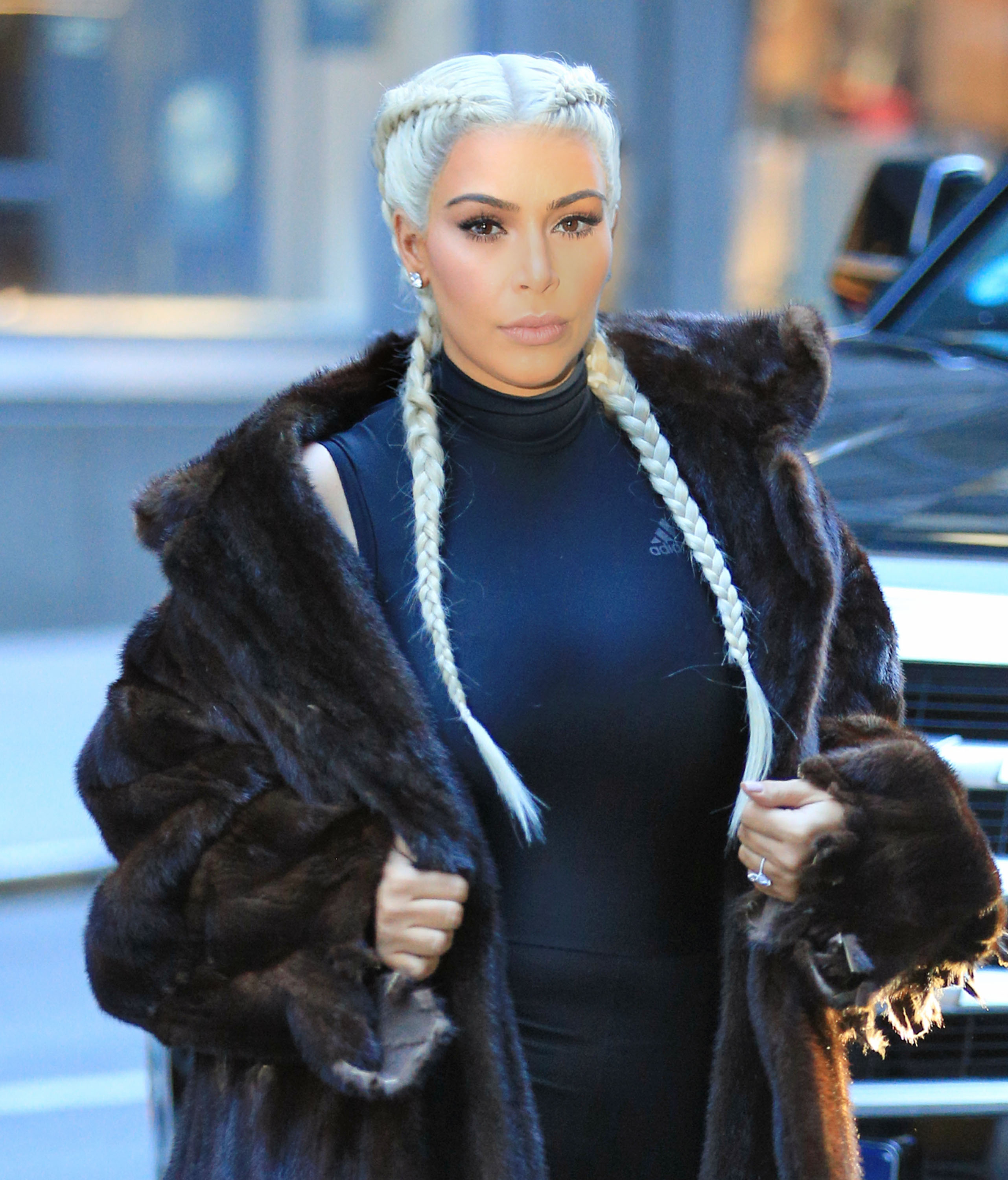 Kim Kardashian wears sports tights under fur coat with braided blonde hair in NYC Pictured: Kim Kardashian Ref: SPL1226850 130216 Picture by: Jackson Lee / Splash News Splash News and Pictures Los Angeles:310-821-2666 New York: 212-619-2666 London: 870-934-2666 photodesk@splashnews.com