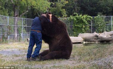 Pamje e rrallë: Shikoni si e përqafon ariu mikun e tij njeri (Video)