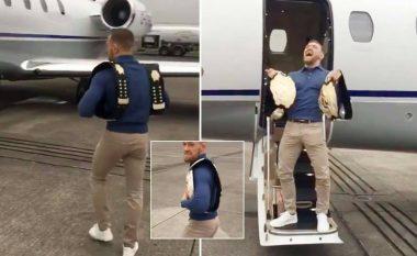 McGregor tallet me UFC-në teksa futej në aeroplanin privat, ka edhe një mesazh për të gjithë ata që dëshirojnë t'ia marrin titullin (Video)