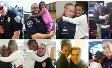 Njihuni me 7-vjeçaren që ka dëshirë të përqafojë policët kudo në SHBA (Foto)