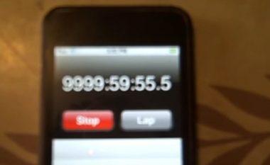 Priti 416 ditë për të parë se çfarë do të ndodhë me kronometrin e iPodit pas 9999 orësh, 59 minutash dhe 59 sekondave (Video)