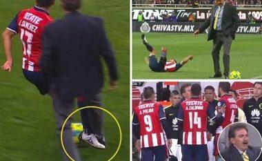 Trajneri merr situatën në dorë, futet në fushë dhe e ndal lojtarin kundërshtar (Foto/Video)