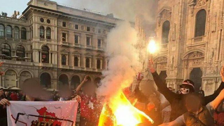 Tifozët e Zvezdës djegin flamurin shqiptar në Milano (Foto)