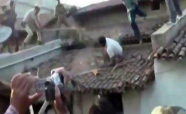 Tigri paraqitet në një lagje dhe sulmon mbrojtësin e rendit mbi kulm (Video)