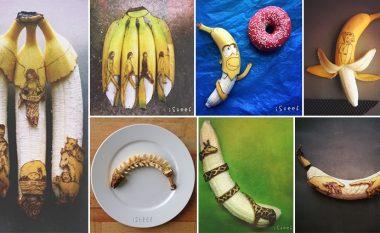 Artisti krijon vepra arti vetëm me një laps dhe një banane (Foto)