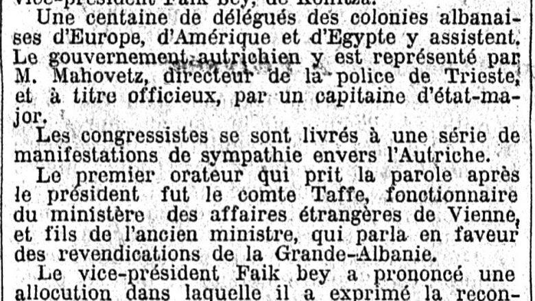 Le Temps (1913): Kongresi i Triestes për një Shqipëri etnike