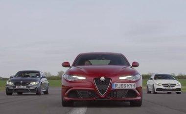 AMG C63 lë prapa Giulia QV dhe BMW M3, në arritjen e shpejtësisë prej 240 kilometrave në orë (Video)