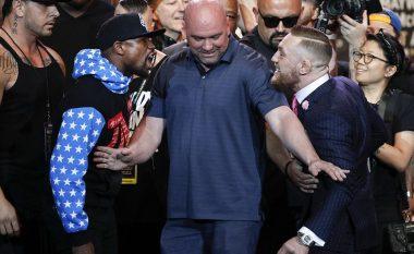Takohen për herë të parë McGregor dhe Floyd Mayweather – Të dy premtojnë fitoren në takimin që nuk kaloi pa zhurmë, fjalë dhe gjestet nga boksierët (Foto)