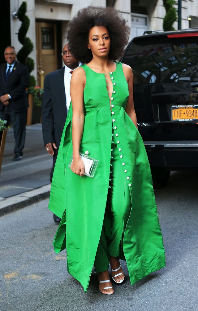 Solange Knowles in a bright green dress in NYC. Pictured: Solange Knowles Ref: SPL1016168 030515 Picture by: XactpiX/Splash News Splash News and Pictures Los Angeles:310-821-2666 New York: 212-619-2666 London: 870-934-2666 photodesk@splashnews.com