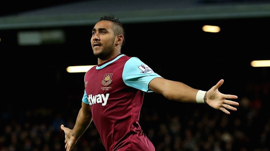 """West Ham United goalkeeper Dimitri Payet celebrates scoring his side's second goal of the game during the Barclays Premier League match at Upton Park, London. PRESS ASSOCIATION Photo. Picture date: Monday September 14, 2015. See PA story SOCCER West Ham. Photo credit should read: Steve Paston/PA Wire. RESTRICTIONS: EDITORIAL USE ONLY No use with unauthorised audio, video, data, fixture lists, club/league logos or """"live"""" services. Online in-match use limited to 45 images, no video emulation. No use in betting, games or single club/league/player publications."""