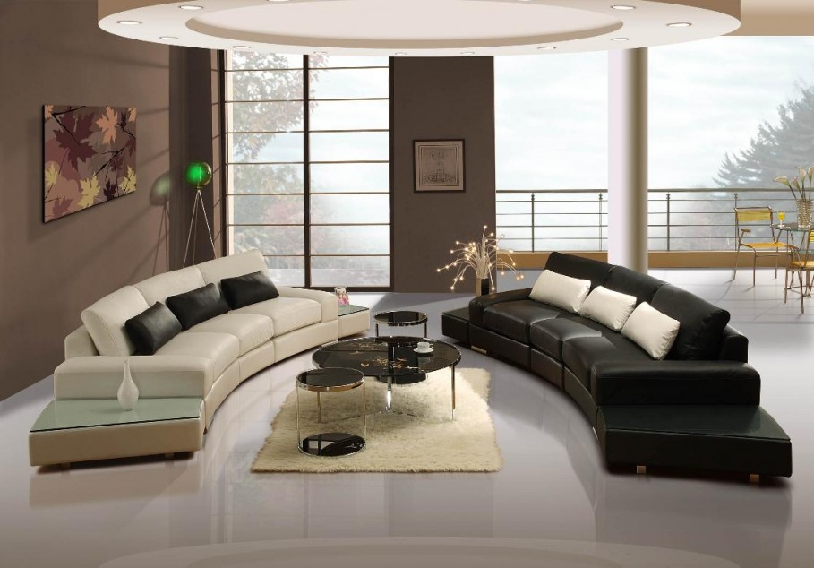 Gorgeous-Feng-Shui-Living-Room-Design-in-Modern-Style-Decorated-with-Black-and-White-Leather-Sofa-using-Wooden-Coffee-Table-909x634