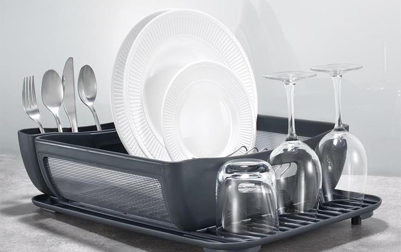 Astounding-Modern-Curved-Dish-Drainer-As-Dish-Rack-Storage-With-Cutlery-Set-Holder-And-Glass-Rack-As-Modern-Kitchen-Aid-Ideas-Indulging-Yet-Pretty-Dish-Rack-Best-Dish-Drainer-Galler