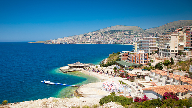 Beautiful beach in Saranda, Albania.