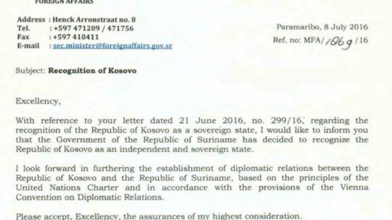 Surinami njeh Kosovën (Dokument)