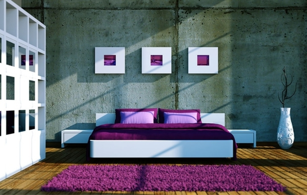 Classic-Bedroom-Concept-with-Purple-Wool-Rug-and-Decorative-Wall-Picture-Using-Purple-Bed-Linen