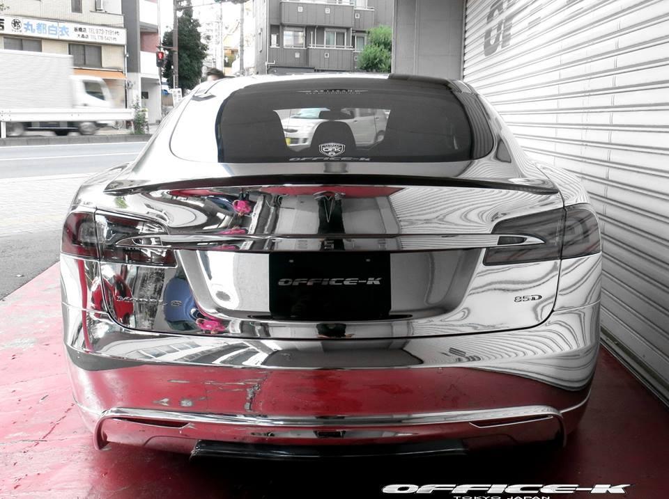 Tesla Model S e mbështjellë komplet me krom foto 4