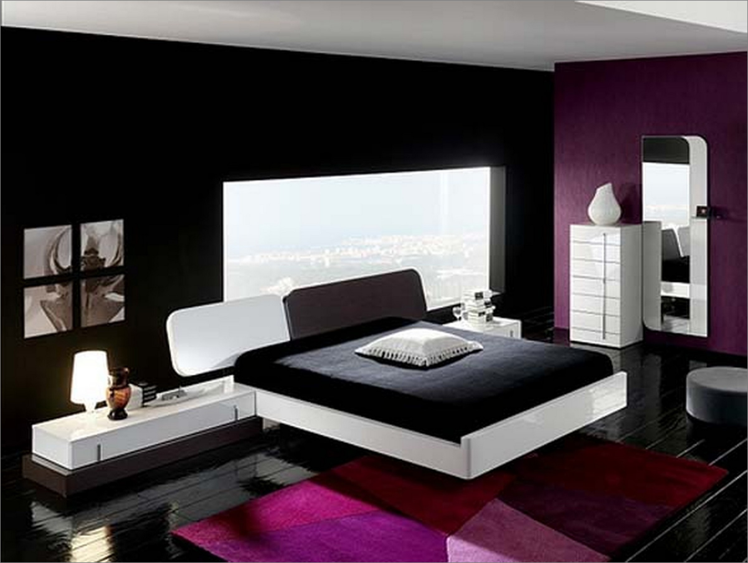 appealing-modern-bedroom-decorating-ideas-with-black-and-purple-wall-paint-color-themes-also-featuring-contemporary-white-low-profile-bed-floating-style-incorporates-black-f
