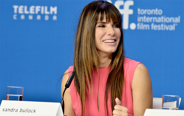"TORONTO, ON - SEPTEMBER 12: Actress Sandra Bullock speaks onstage during the ""Our Brand Is Crisis"" press conference at the 2015 Toronto International Film Festival at TIFF Bell Lightbox on September 12, 2015 in Toronto, Canada. (Photo by George Pimentel/WireImage)"