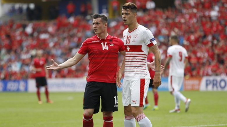 Football Soccer - Albania v Switzerland - EURO 2016 - Group A - Stade Bollaert-Delelis, Lens, France - 11/6/16 Albania's Taulant Xhaka in action with Switzerland's Granit Xhaka REUTERS/Carl Recine Livepic