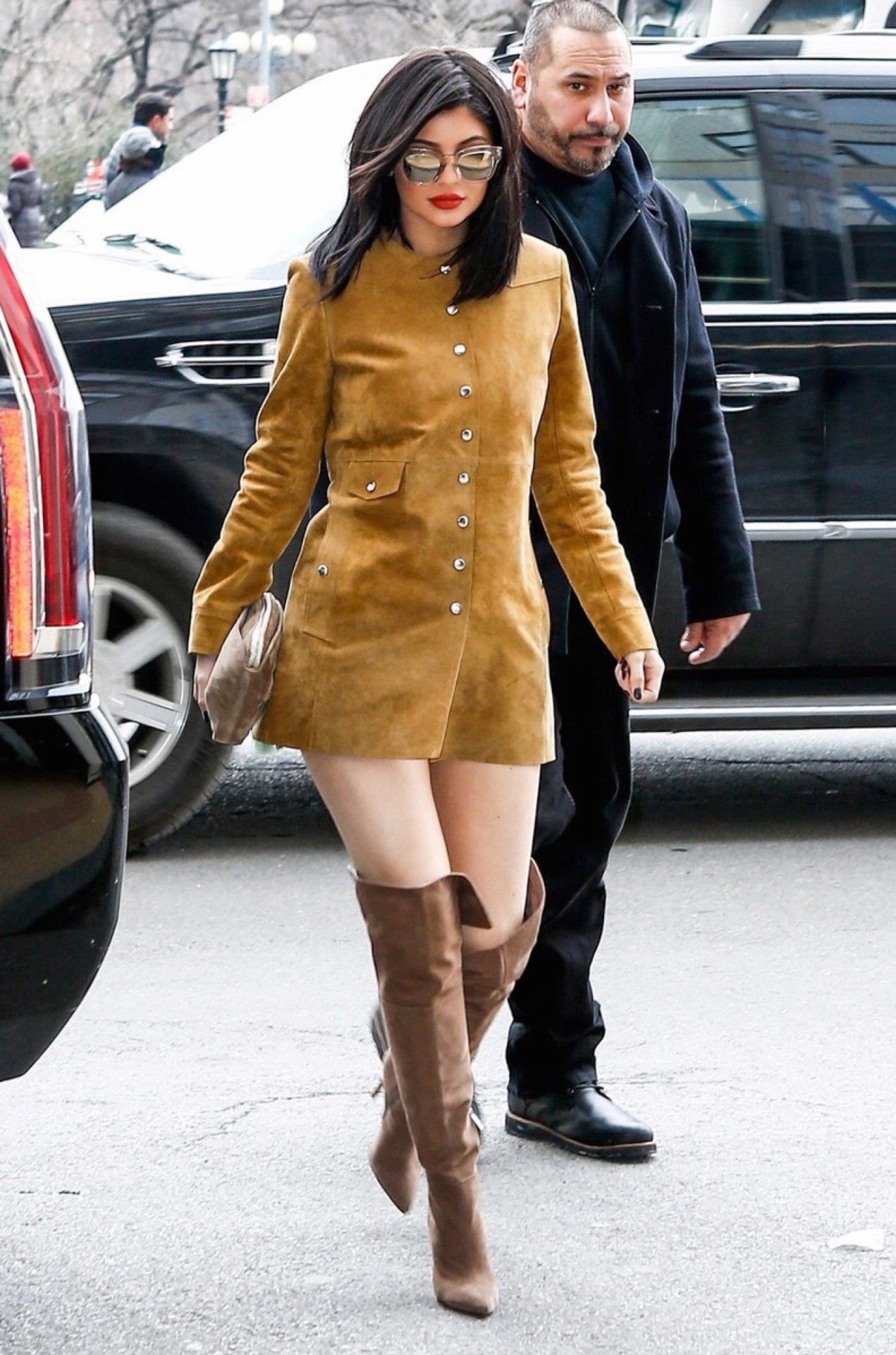 3-Kylie-Jenners-Isabel-Marant-Suede-Button-Jacket-Dress-and-Schutz-Brown-Over-the-Knee-Boots