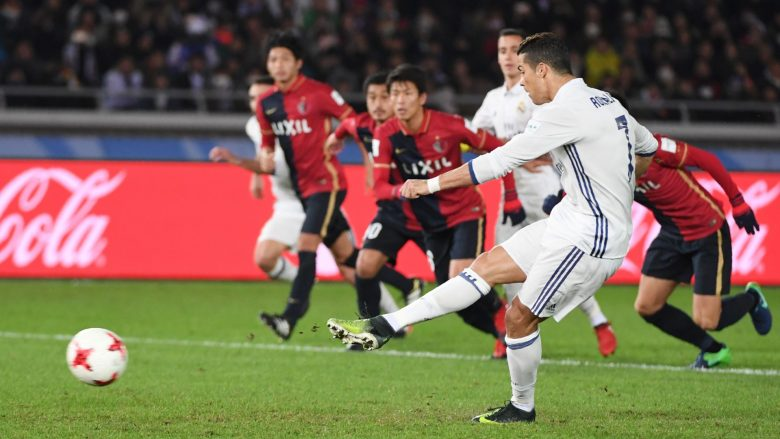 Real Madrid forward Cristiano Ronaldo scores a penalty during the Club World Cup football final match between Kashima Antlers of Japan and Real Madrid of Spain at Yokohama International stadium in Yokohama on December 18, 2016. / AFP / Toshifumi KITAMURA        (Photo credit should read TOSHIFUMI KITAMURA/AFP/Getty Images)