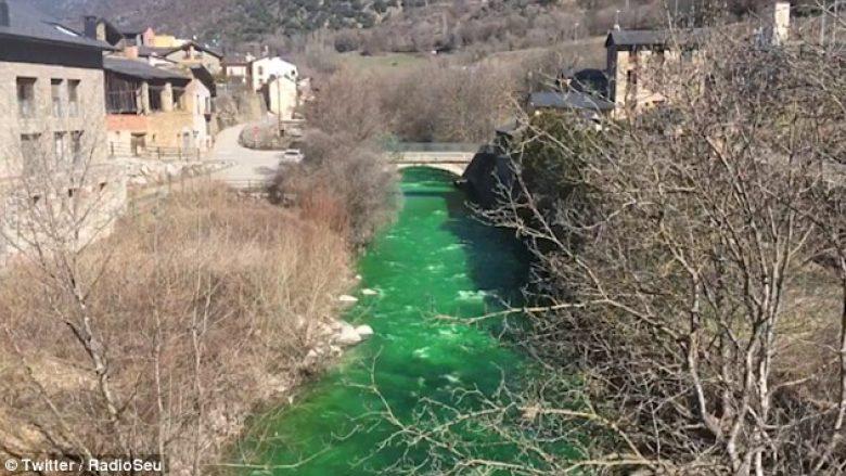 Banorët alarmohen nga uji i lumit që u bë tërësisht i gjelbër (Video)