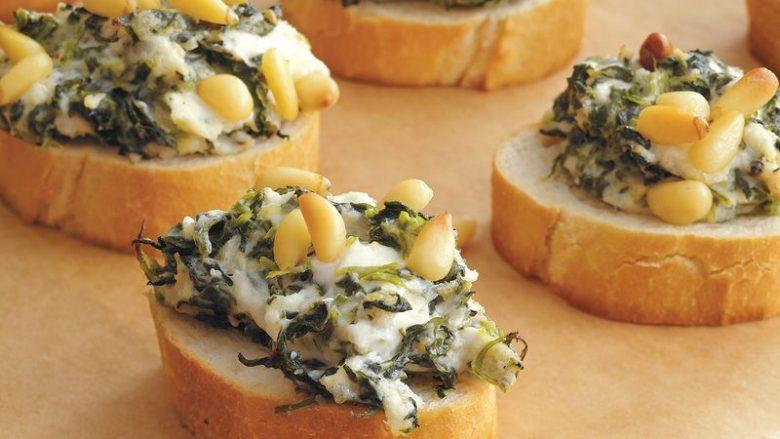 Bukë e fërguar me spinaq dhe djathë