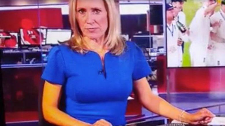Gazetarja e BBC-së jep lajmet në transmetim live, derisa prapa shpinës së saj një koleg po shikonte skena erotike në kompjuter (Video)
