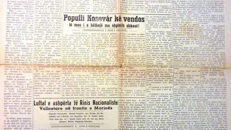 """Gazeta """"Bashkimi i kombit"""", Gjilan, korrik 1944: """"Populli Kosovar ka vendos të mos i a këthejë ma shpinën shkaut!"""""""