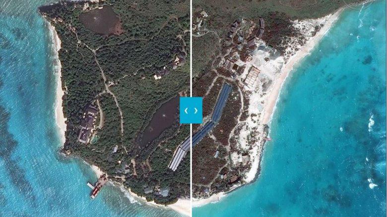"""Uragani Irma """"gëlltit"""" gjysmën e ishullit Necker: Imazhet satelitore dëshmojnë si mijëra tonë rërë janë zhdukur nga erërat e forta (Foto)"""