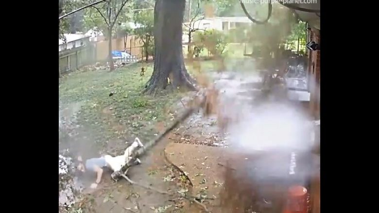 Po dilte nga shtëpia kur një degë gjigante u këputa dhe ra, i riu rrëzohet në tokë dhe shpëton pa iu ngulur në gjoks (Video)