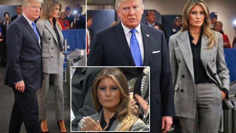 Melania Trump vishet me kostum gri, ndërsa tërheq vëmendjen me sjelljen tepër të ftohtë në Asamblenë e OKB-së (Foto)