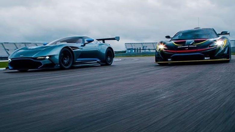 Gara e mahnitshme mes hipermakinave Aston Martin Vulcan dhe McLaren P1 GTR (Video)