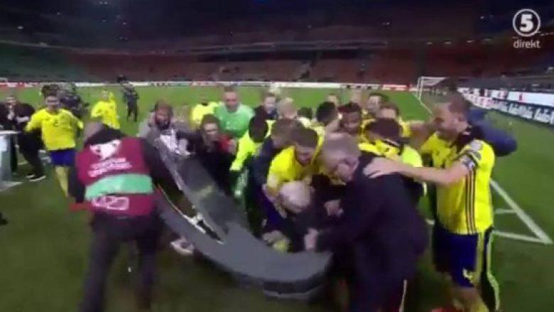 Lojtarët suedez nuk thyen vetëm zemrat e tifozëve italianë, por edhe studion e Eurosportit në San Siro (Video)