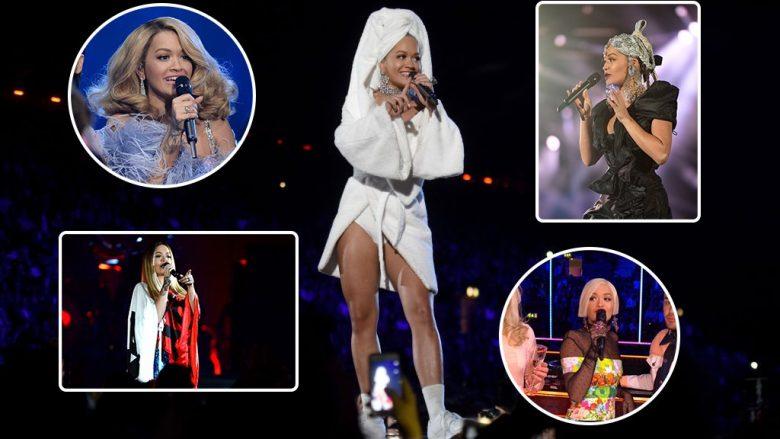 Trembëdhjetë veshjet e Rita Orës përgjatë mbrëmjes së 'MTV Europe Music Awards' (Foto)