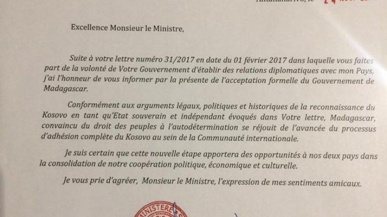Madagaskari e njeh shtetin e Kosovës