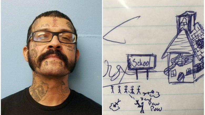 Nxënësi i klasës së katërt dërgoi në shkollë një vizatim, kur e panë mësuesit menjëherë i telefonuan policisë (Foto)