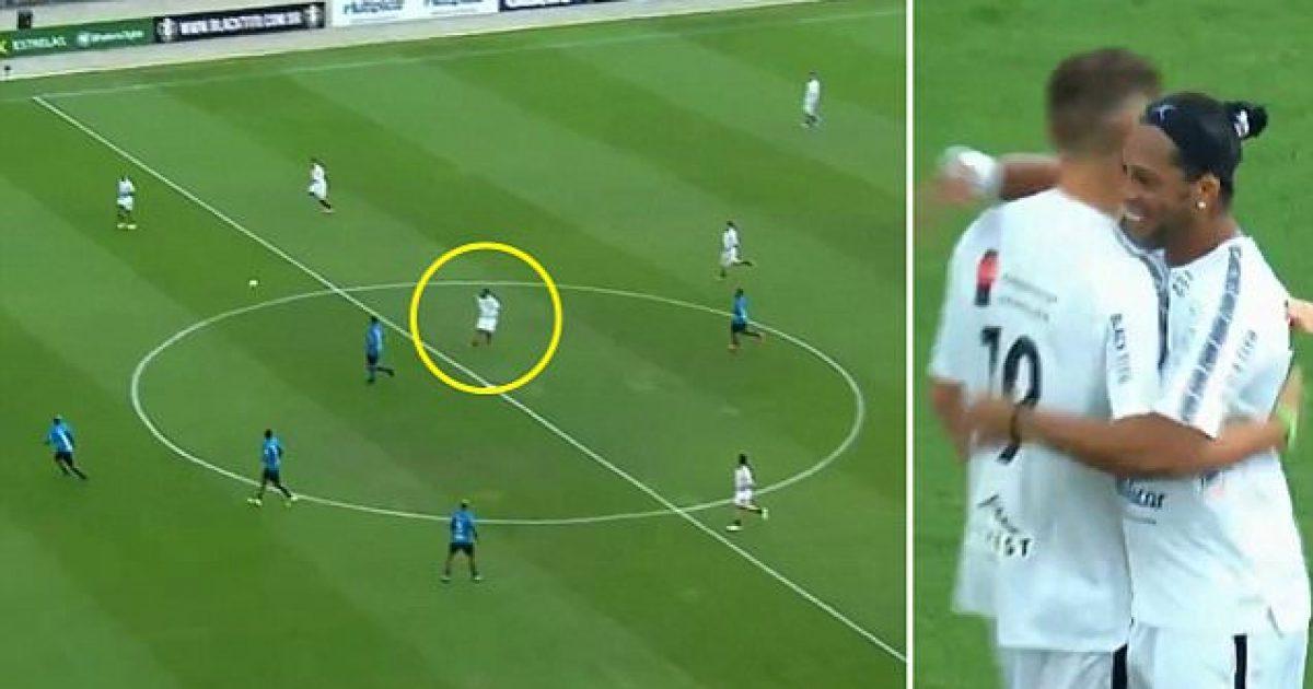 Ronaldinho shënon nga mesi i fushës  duartrokitet edhe nga portieri kundërshtar