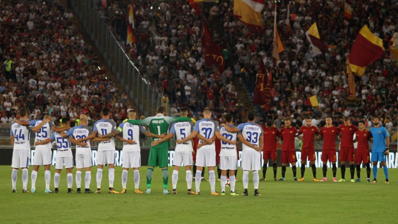 during the Serie A match between AS Roma and FC Internazionale on August 26, 2017 in Rome, Italy.