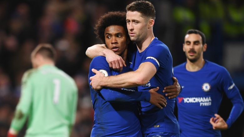 LONDON, ENGLAND - DECEMBER 30:  Willian (L) of Chelsea celebrates scoring from the penalty spot for his team's fourth goal with Gary Cahill of Chelsea during the Premier League match between Chelsea and Stoke City at Stamford Bridge on December 30, 2017 in London, England.  (Photo by Michael Regan/Getty Images)