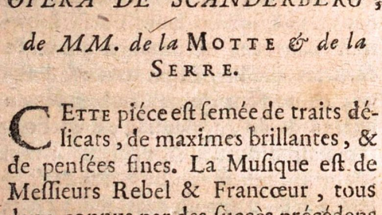 """Kritika e veprës """"Opéra de Scanderberg"""", në librin francez të vitit 1757"""
