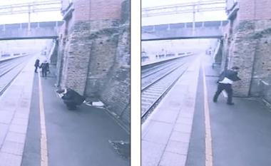 Tentoi të kryej vetëvrasje duke i dal përpara trenit që lëvizte me shpejtësi të madhe, kalimtarja e rastit e shpëton në sekondën e fundit (Video)