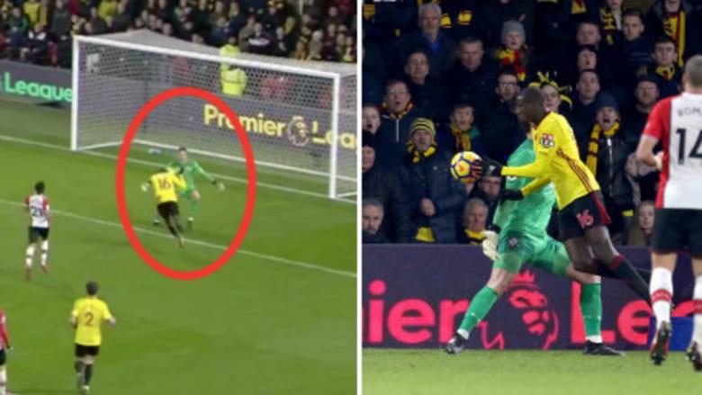 Tifozët e Southamptonit të nervozuar me gjyqtarin, mesfushori i Watfordit barazoi rezultatin duke shënuar me dorë (Video)