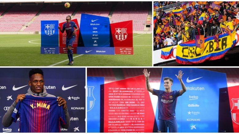 Yerry Mina gëzoi më shumë përkrahje nga tifozët gjatë prezantimit në Camp Nou se Coutinho