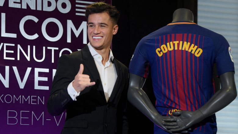 BARCELONA, SPAIN - JANUARY 08:  New Barcelona signing Philippe Coutinho poses for a photograph next to his new shirt as he is unveiled at Camp Nou on January 8, 2018 in Barcelona, Spain. The Brazilian player signed from Liverpool, has agreed a deal with the Catalan club until 2023 season.  (Photo by David Ramos/Getty Images)