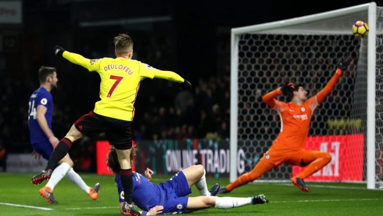 WATFORD, ENGLAND - FEBRUARY 05:  Gerard Deulofeu of Watford miises a chance during the Premier League match between Watford and Chelsea at Vicarage Road on February 5, 2018 in Watford, England.  (Photo by Catherine Ivill/Getty Images)