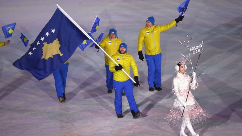 PYEONGCHANG-GUN, SOUTH KOREA - FEBRUARY 09:  Flag bearer Albin Tahiri of Kosovo leads the team during the Opening Ceremony of the PyeongChang 2018 Winter Olympic Games at PyeongChang Olympic Stadium on February 9, 2018 in Pyeongchang-gun, South Korea.  (Photo by Ronald Martinez/Getty Images)