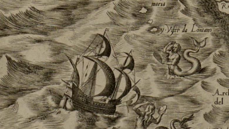 Harta e lashtë shfaqë dy sirena, që mbajnë në duar nga një 'pjatë fluturuese' (Foto)