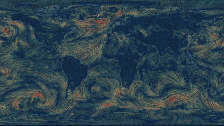Harta e animuar e erës, tregon si lëvizin rrymat e ajrit në Tokë (Video)